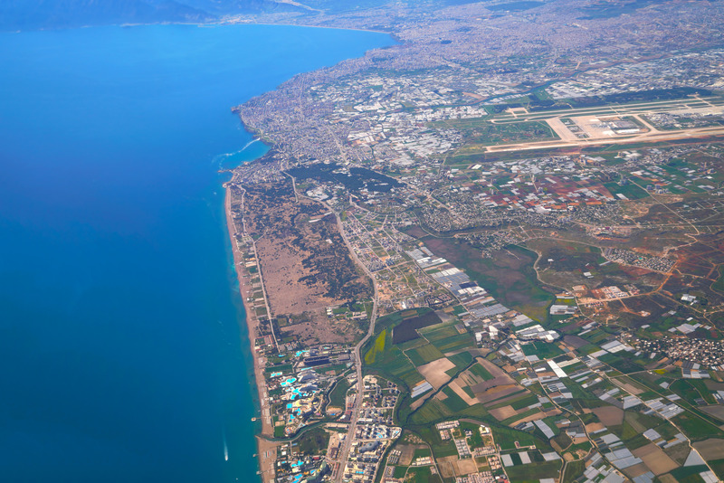 Aerial photograph of Lara beach and Antalya bay in background