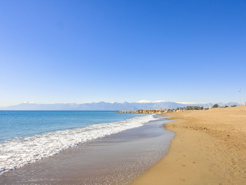 Beach in Lara near Antalya in Turkey.